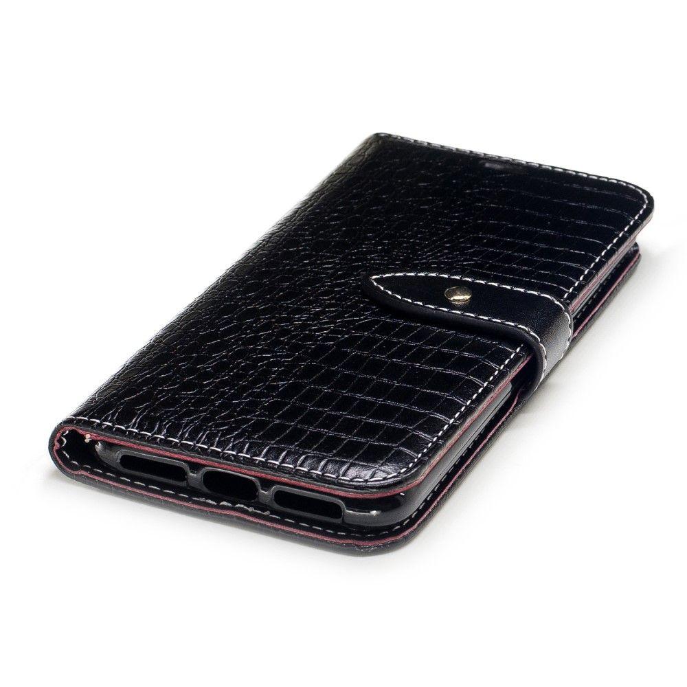 iPhone X - Pu læder cover med krokodille design - Sort