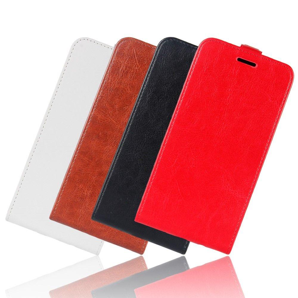 iPhone X - Pu læder flip cover Crazy Horse - Sort