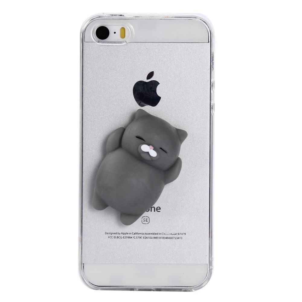 Image of   iPhone 5/5s/SE - Squishy 3D Toy - Grå kat