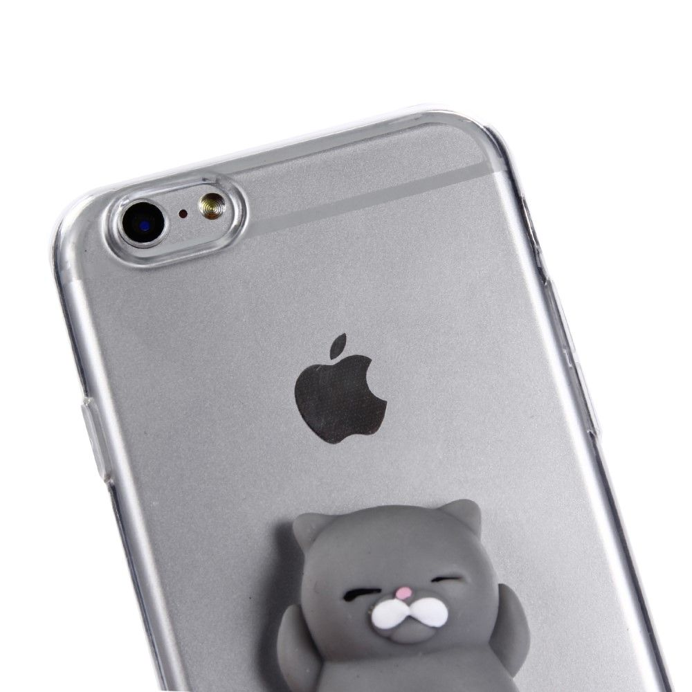 Image of   iPhone 6 / 6s - Squishy 3D Toy - Grå kat