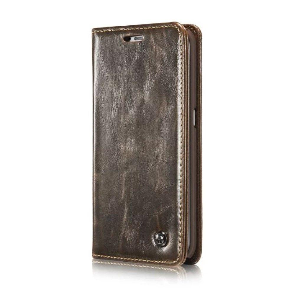 Image of   Galaxy S6 Edge - CASEME Oil Wax læder cover - Brun