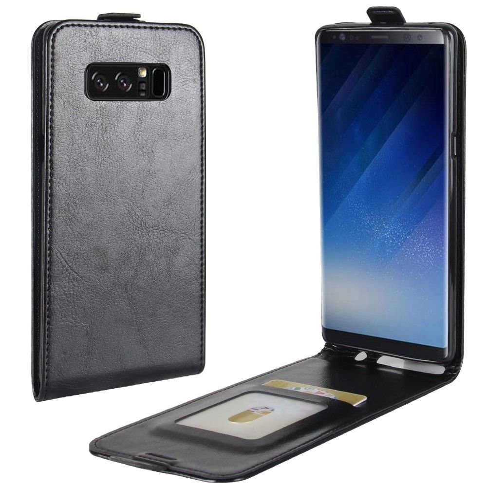 Image of   Galaxy Note 8 - Vertical Flip læder cover - Sort