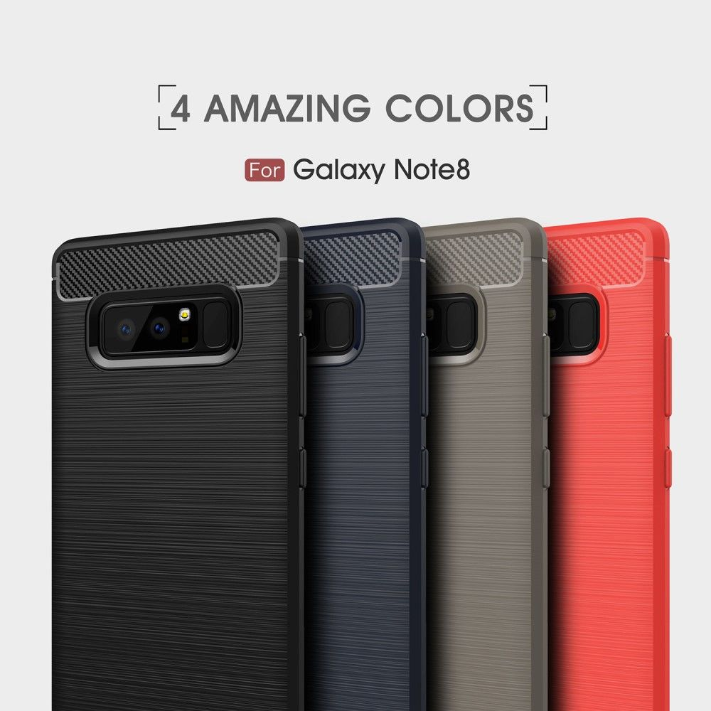 Image of   Galaxy Note 8 - TPU cover med børstet design - Grå