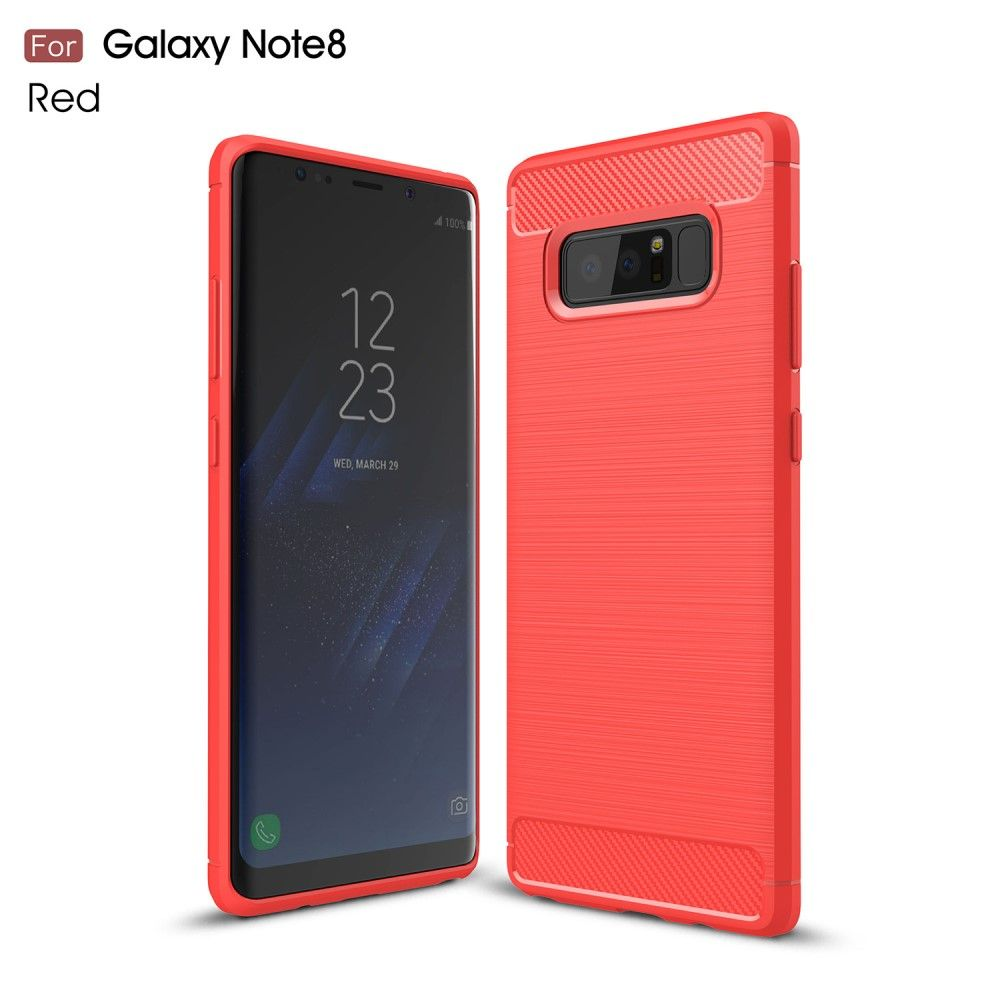 Image of   Galaxy Note 8 - TPU cover med børstet design - Rød