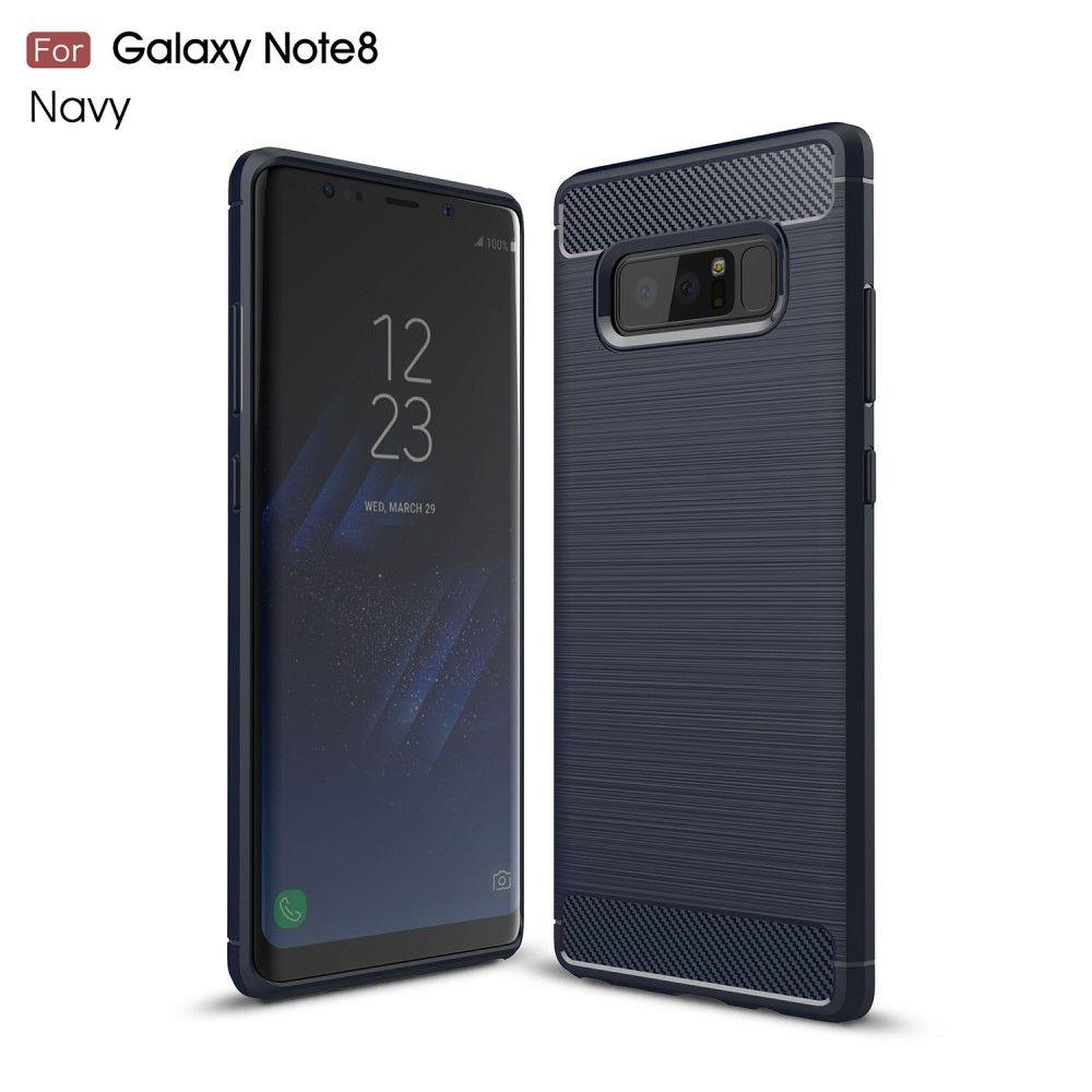 Image of   Galaxy Note 8 - TPU cover med børstet design - Mørkeblå