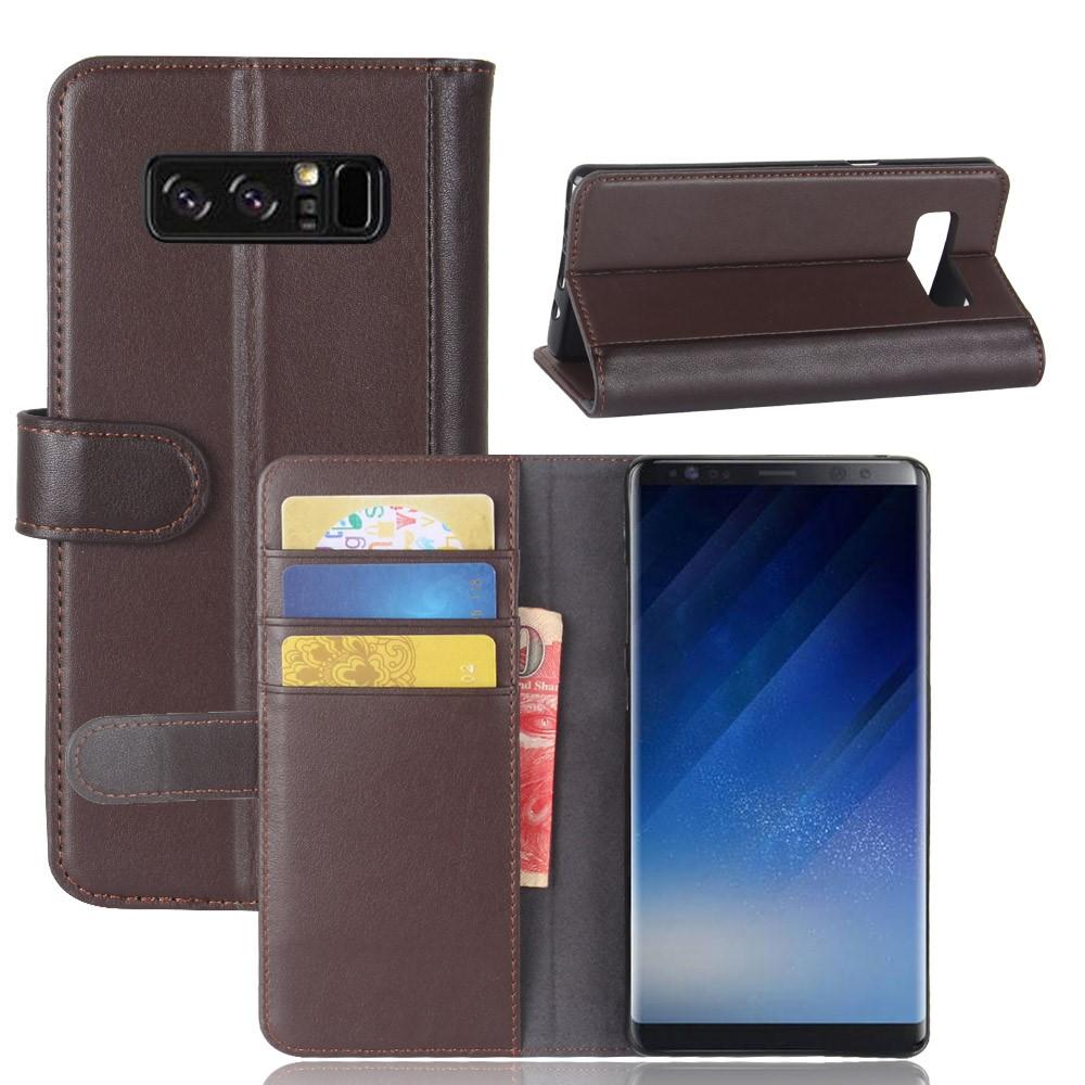 Image of   Galaxy Note 8 - Ægte split læder cover m/kortholdere - Kaffe