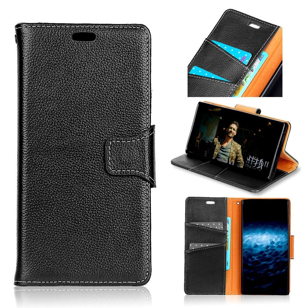 Image of   Galaxy Note 8 - Fashion ægte læder cover / pung - Sort