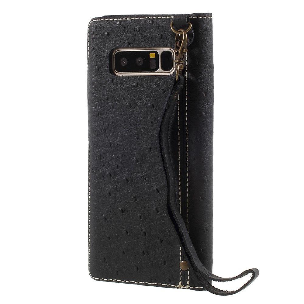Image of   Galaxy Note 8 - Strudse design Ægte læder taske / pung - Sort