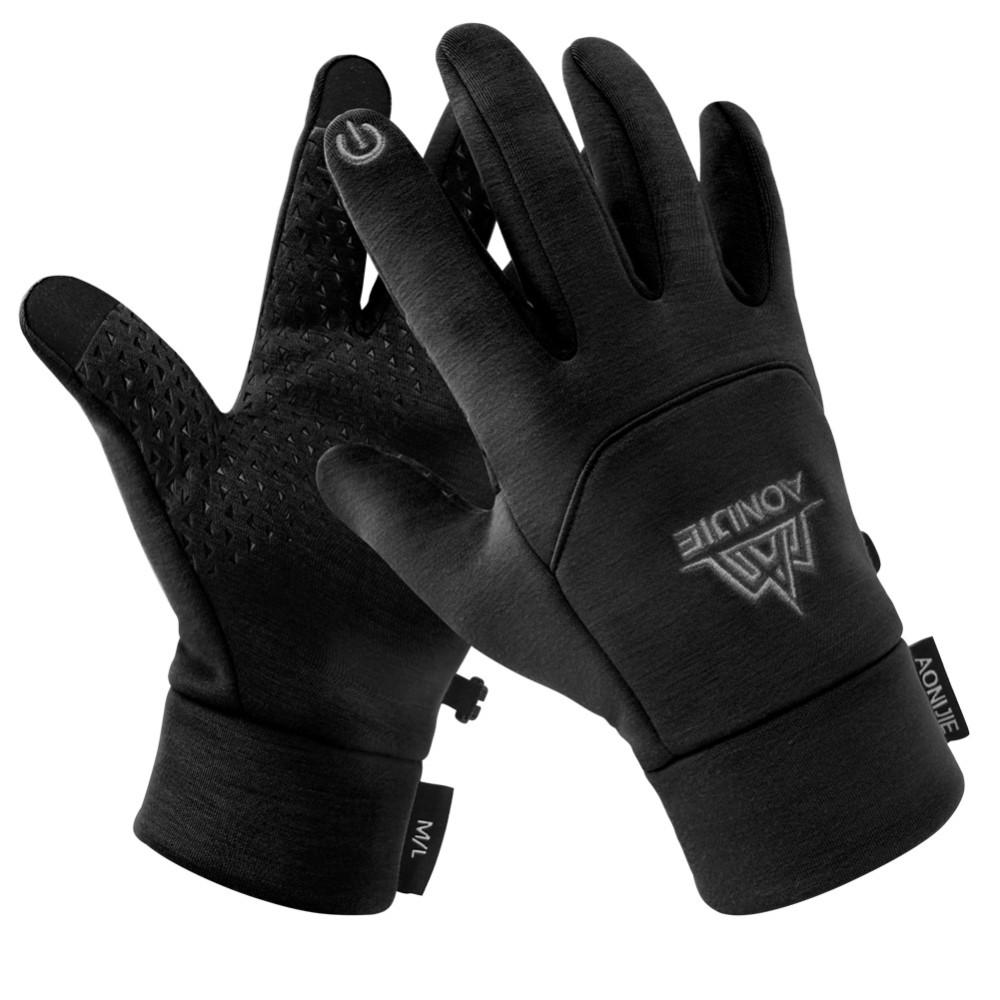 Image of   AONIJIE - Handsker / vanter - Kan bruges til Touch Skærm Str. M/L - Non-Slip - Sort