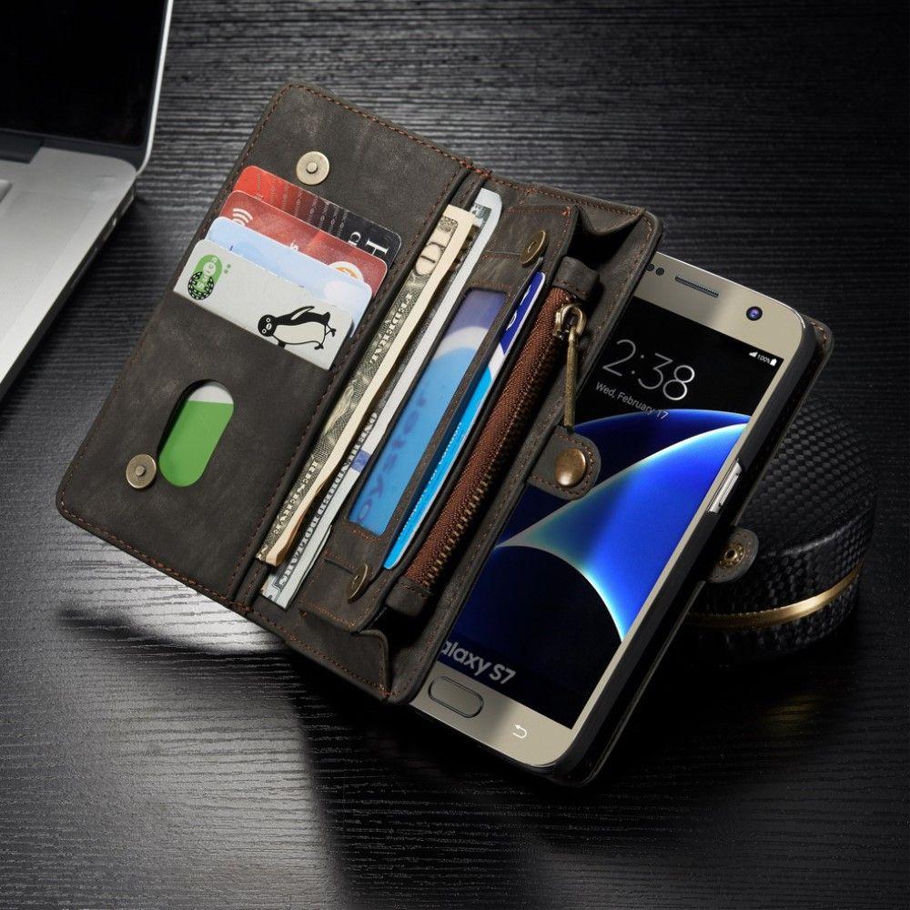 Image of   Galaxy S7 - CASEME Retro Split læder 2-i-1 pung - Grå