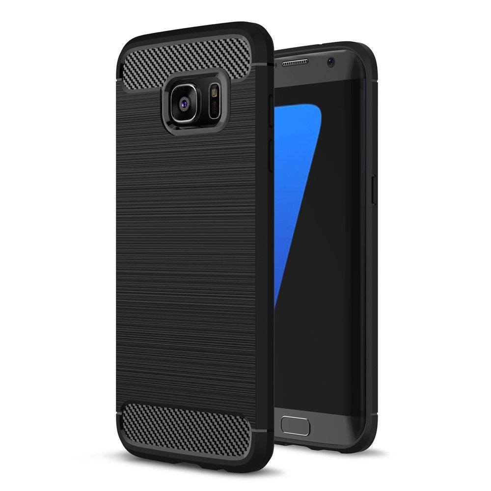 Image of   Galaxy S7 edge - TPU cover m/børstet design - Sort