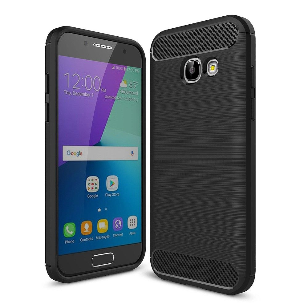 Galaxy A3 (2017) - TPU cover m/børstet design - Sort