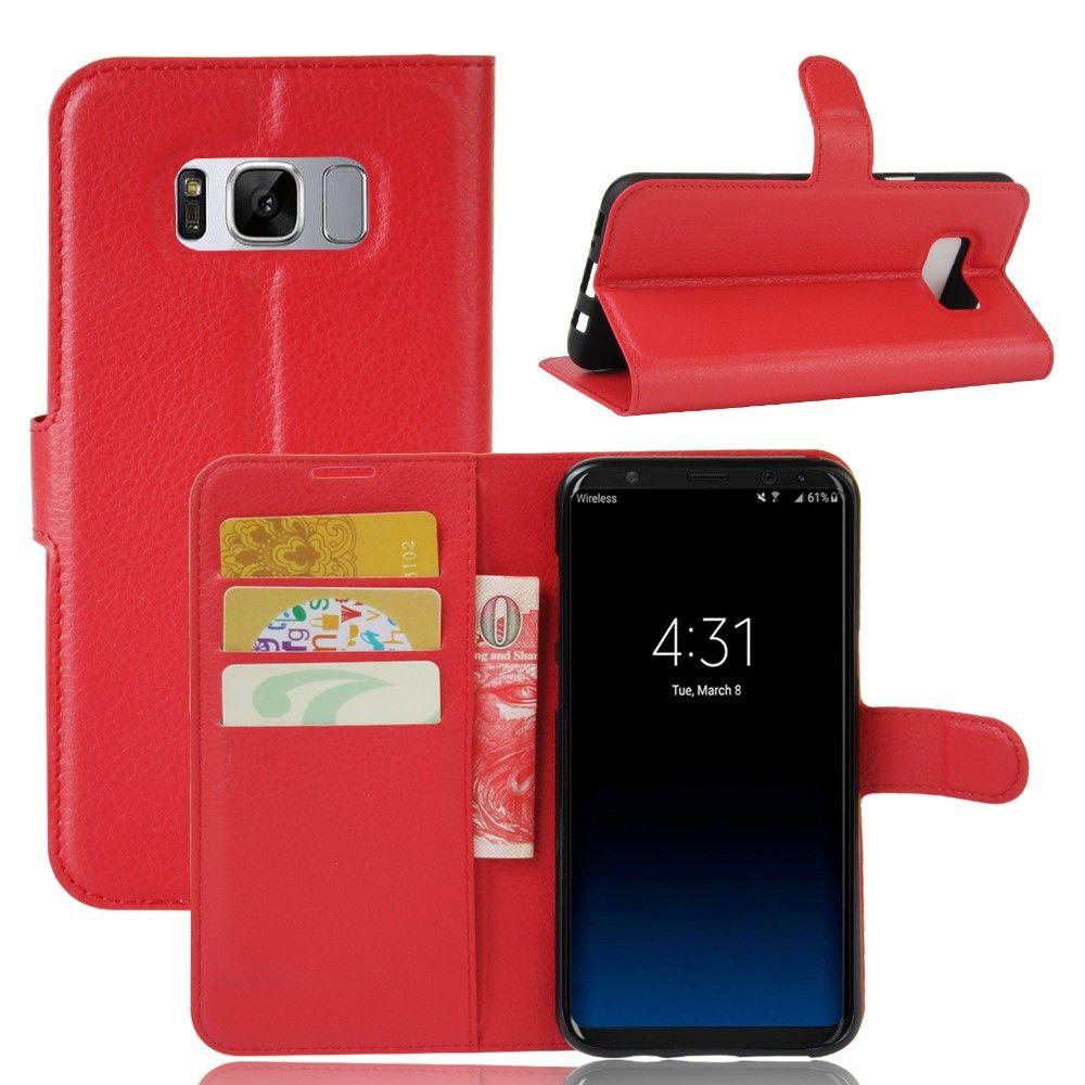Image of   Galaxy S8 - læder cover / pung - Rød