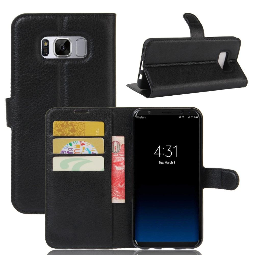 Image of   Galaxy S8 Plus - læder cover / pung - Sort