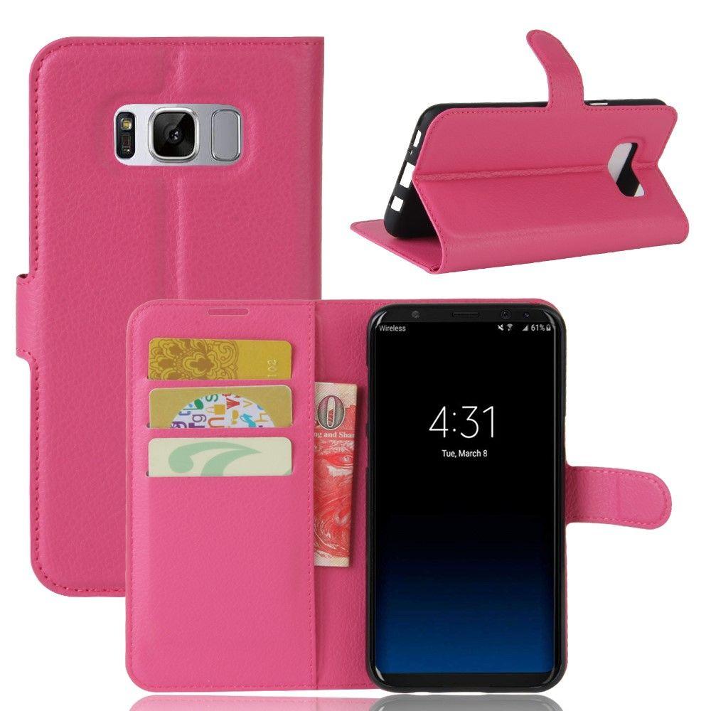 Image of   Galaxy S8 Plus - læder cover/etui Litchi skind - Rose