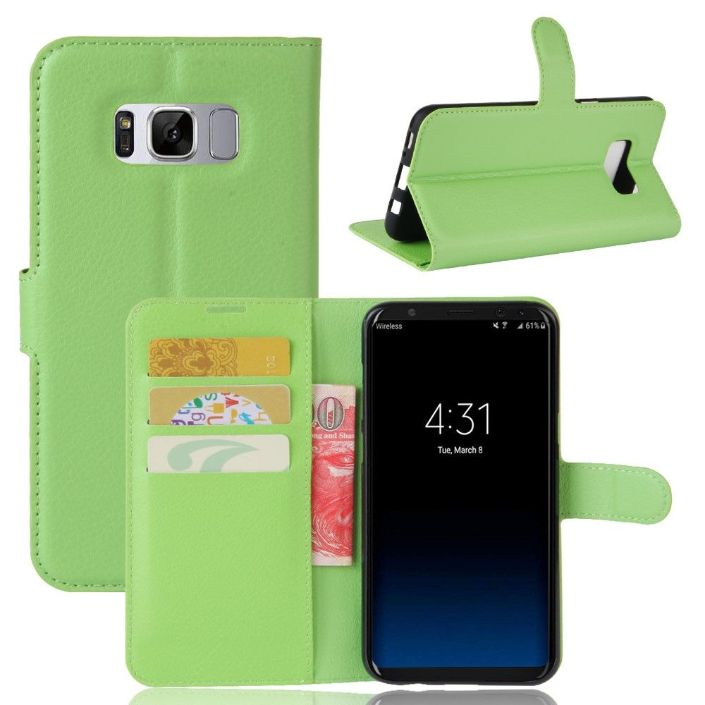 Image of   Galaxy S8 Plus - læder cover/etui Litchi skind - Grøn