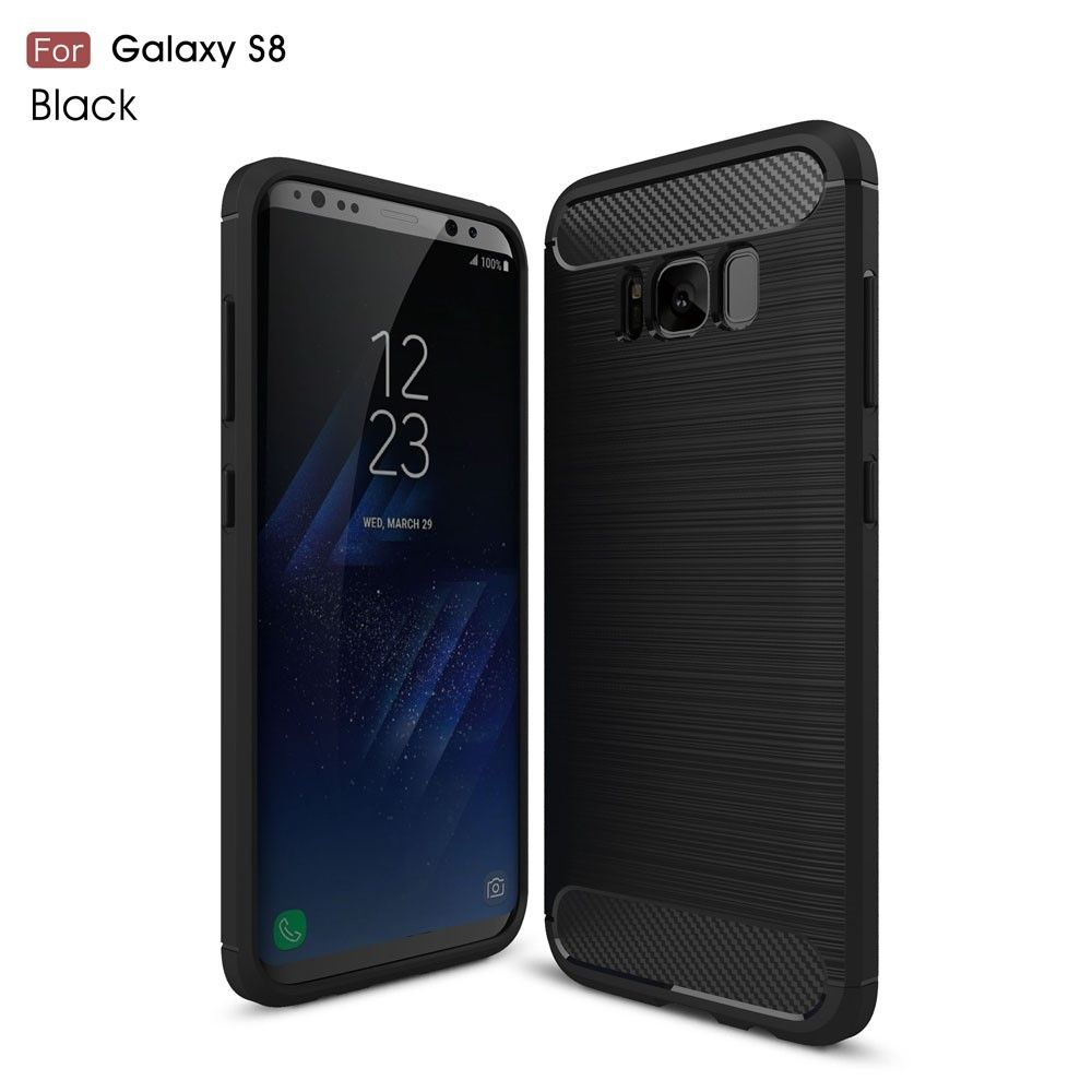 Image of   Galaxy S8 - TPU Cover - Børstet overflade - sort