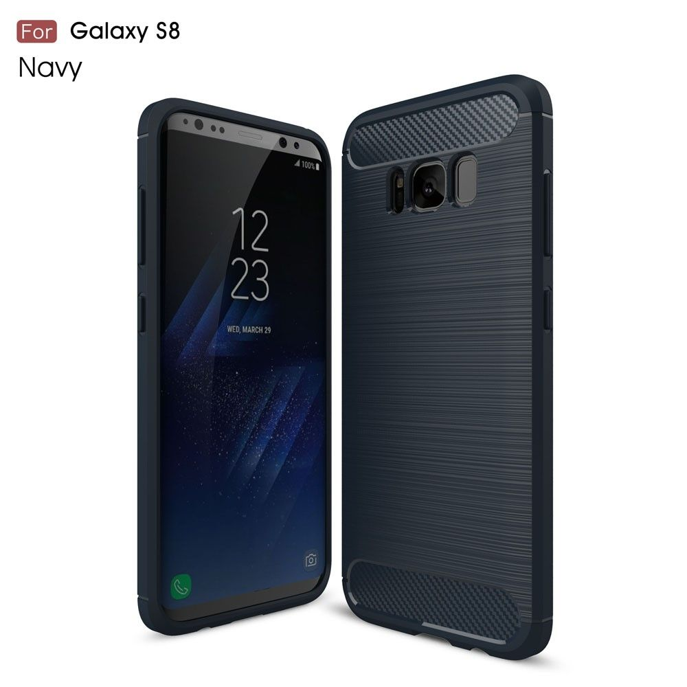 Galaxy S8 - TPU Cover - Børstet overflade - Mørkeblå