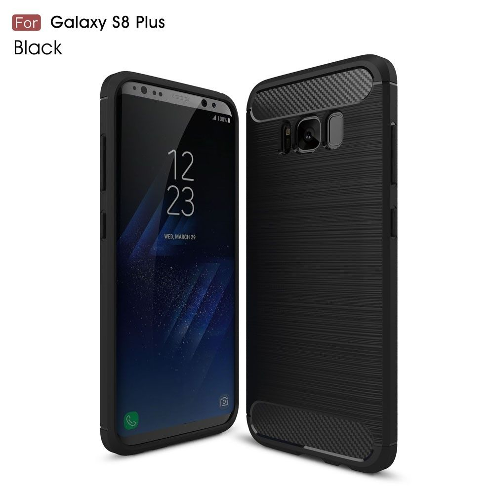 Image of   Galaxy S8 Plus - Etui/Cover m/børstet kulfiber overflade - Sort