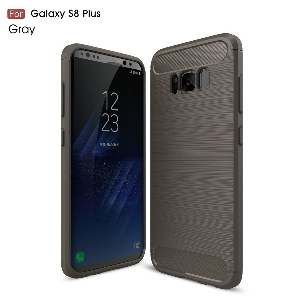 Galaxy S8 Plus - TPU Etui/Cover m/børstet kulfiber overflade - Grå