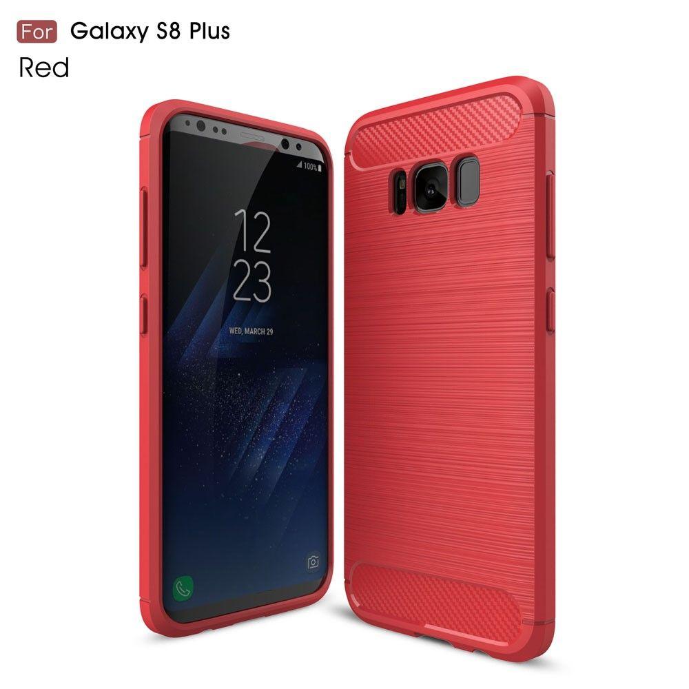 Galaxy S8 Plus - TPU Etui/Cover m/børstet kulfiber overflade - Rød