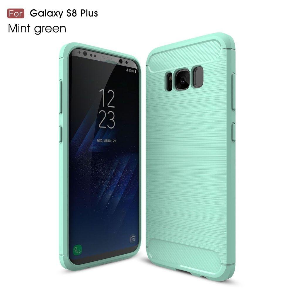 Galaxy S8 Plus - TPU Etui/Cover m/børstet kulfiber overflade - Mintgrøn