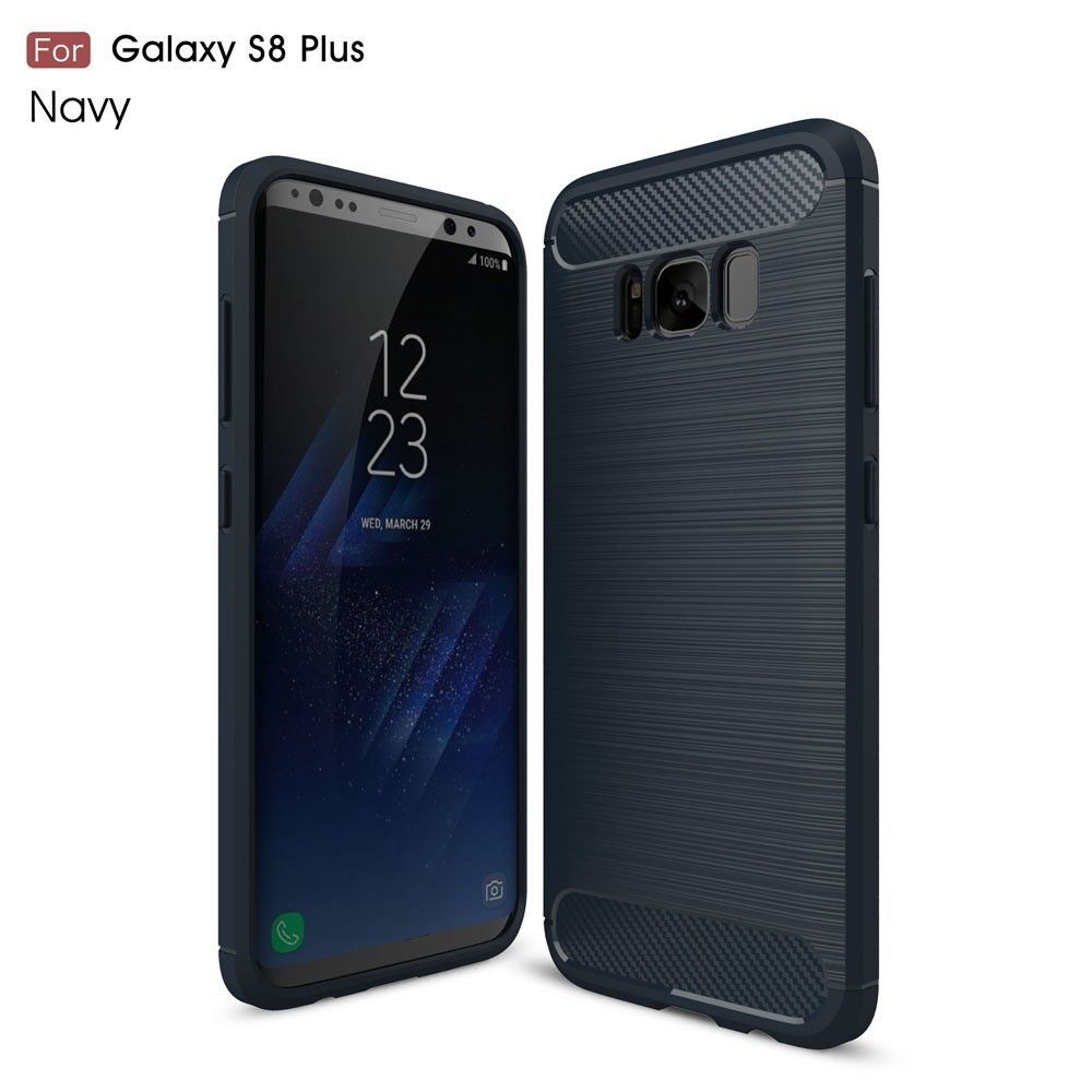 Image of   Galaxy S8 Plus - Etui/Cover m/børstet kulfiber overflade - Mørkeblå