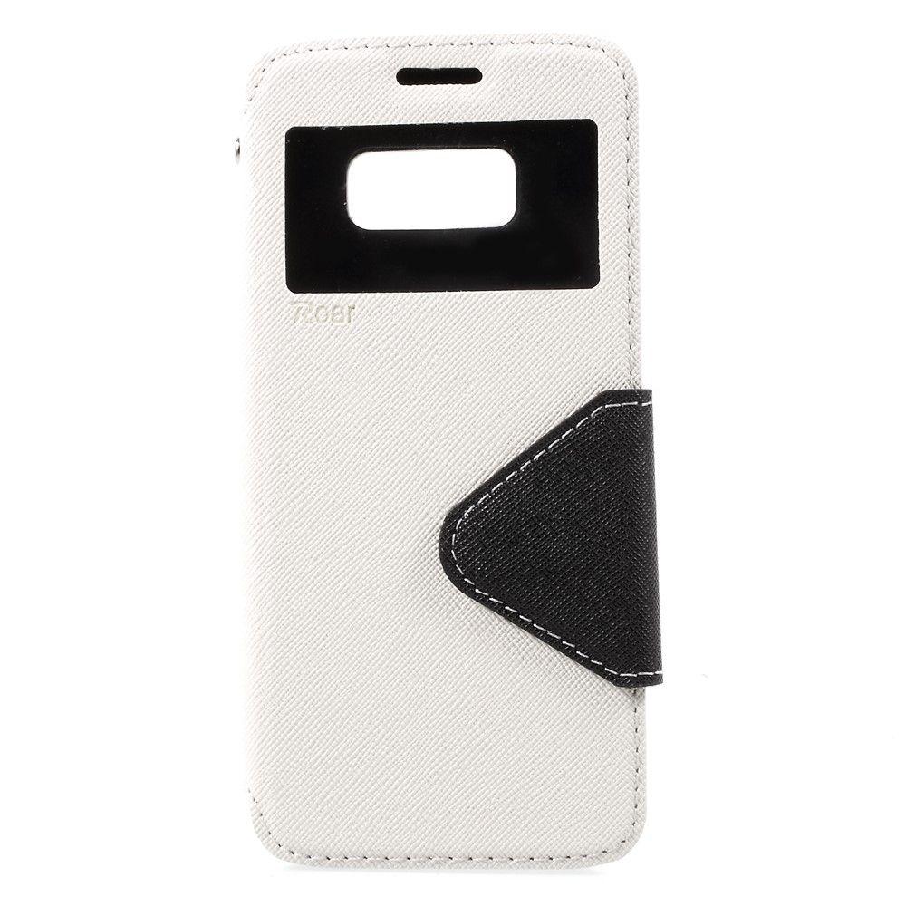 Image of   Galaxy S8 - Pu læder cover m/view vindue ROAR KOREA - Hvid