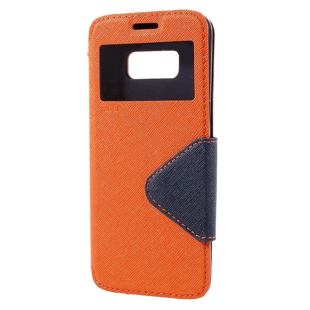 Galaxy S8 - Pu læder cover m/view vindue ROAR KOREA - Orange