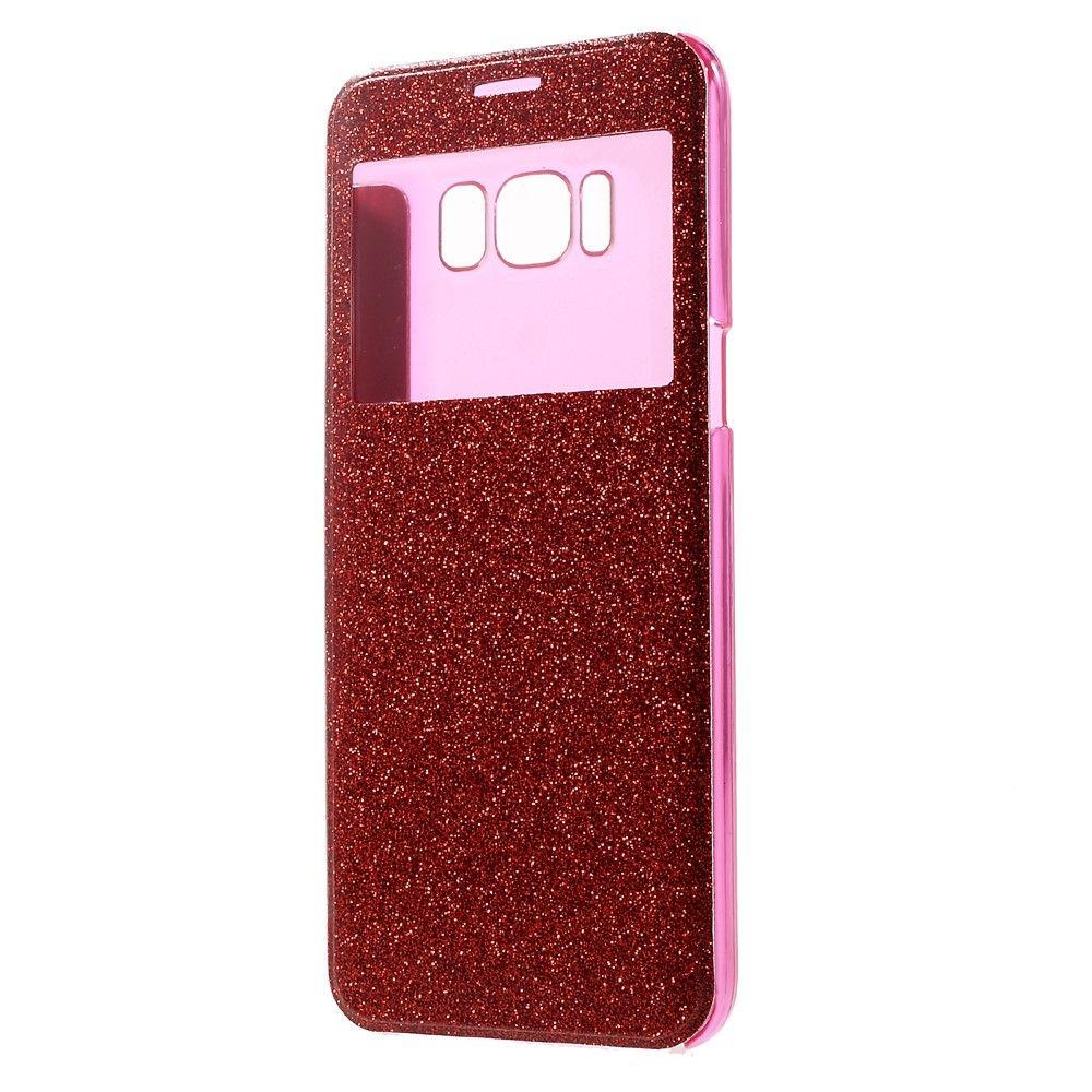 Image of   Galaxy S8 Plus - Pu-Læder Flash cover m/view - Rød