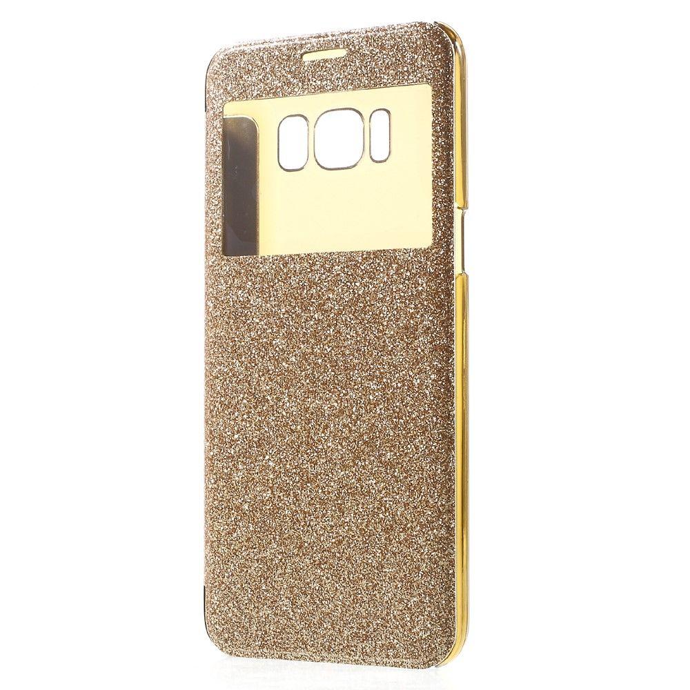 Image of   Galaxy S8 Plus - Pu-Læder Flash cover m/view - Guld