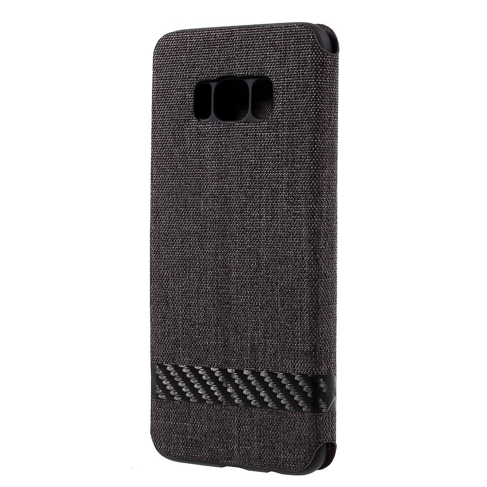Image of   Galaxy S8 - Pu læder kanvas cover m/stand G-CASE - Sort