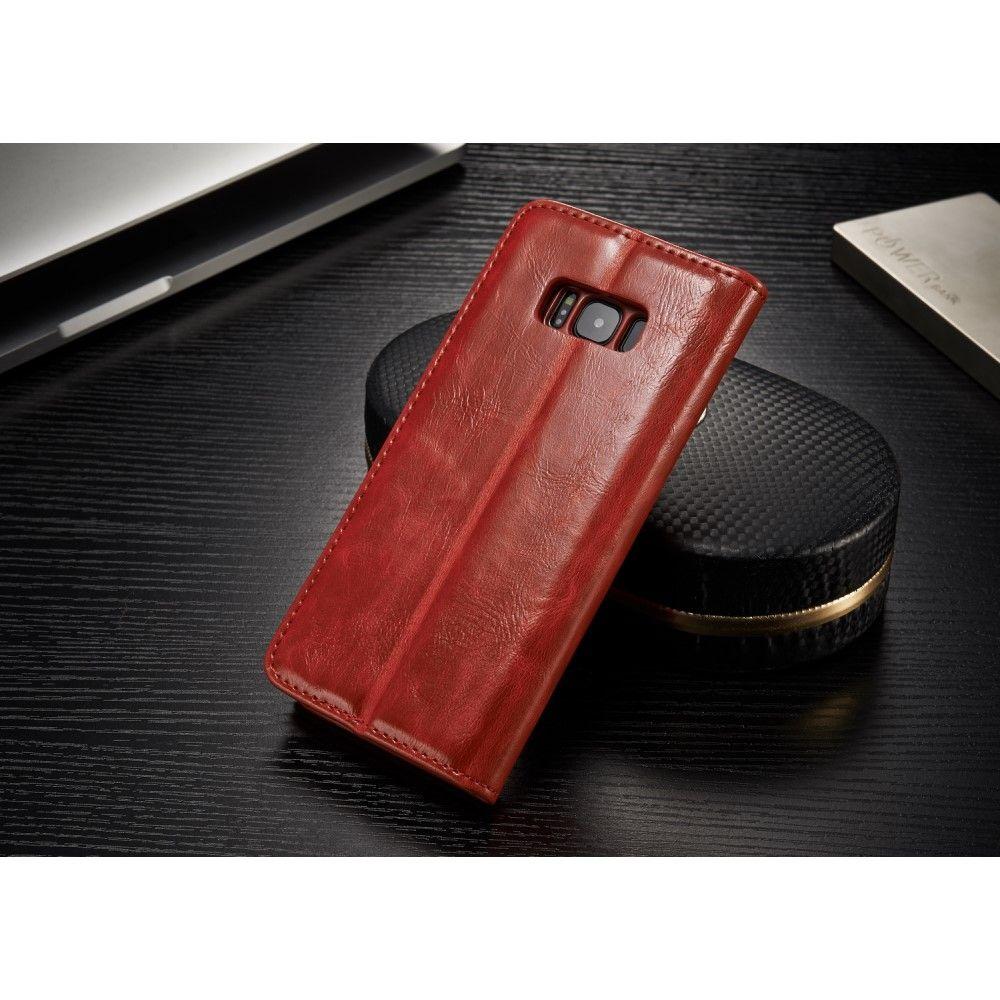 Galaxy S8 - CASEME Oil Wax læder cover - Rød
