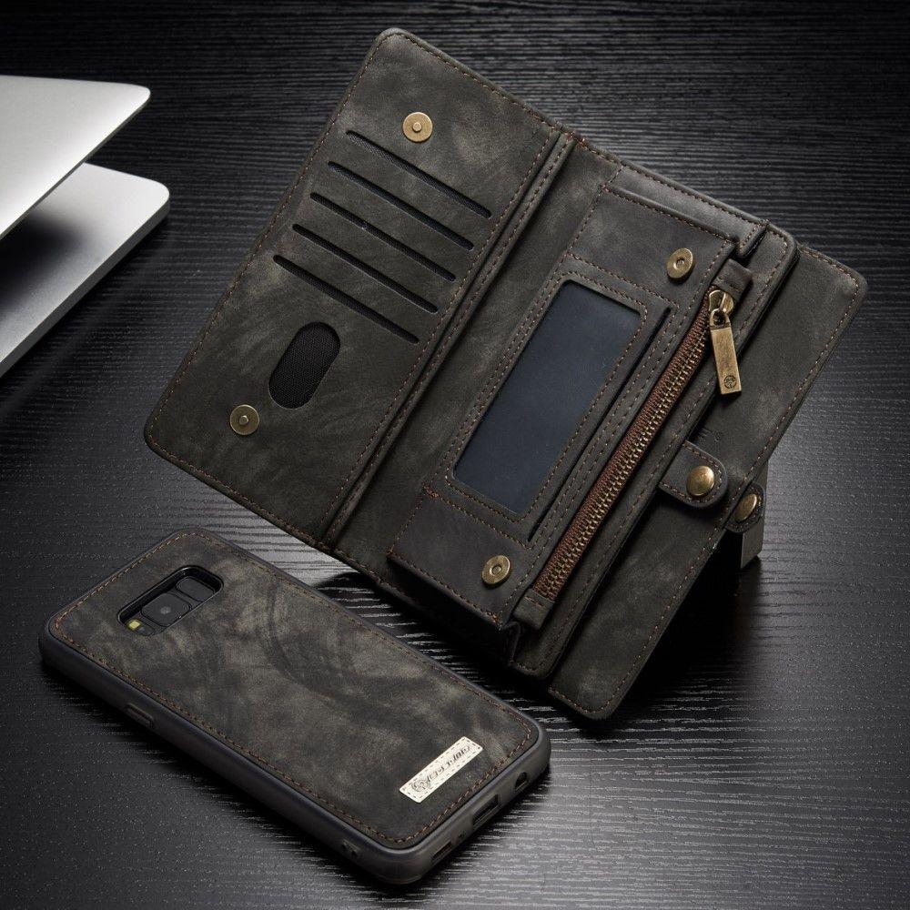 Image of   Galaxy S8 - Ægte split læder cover CASEME 2-i-1 pung med kortslots - Grå