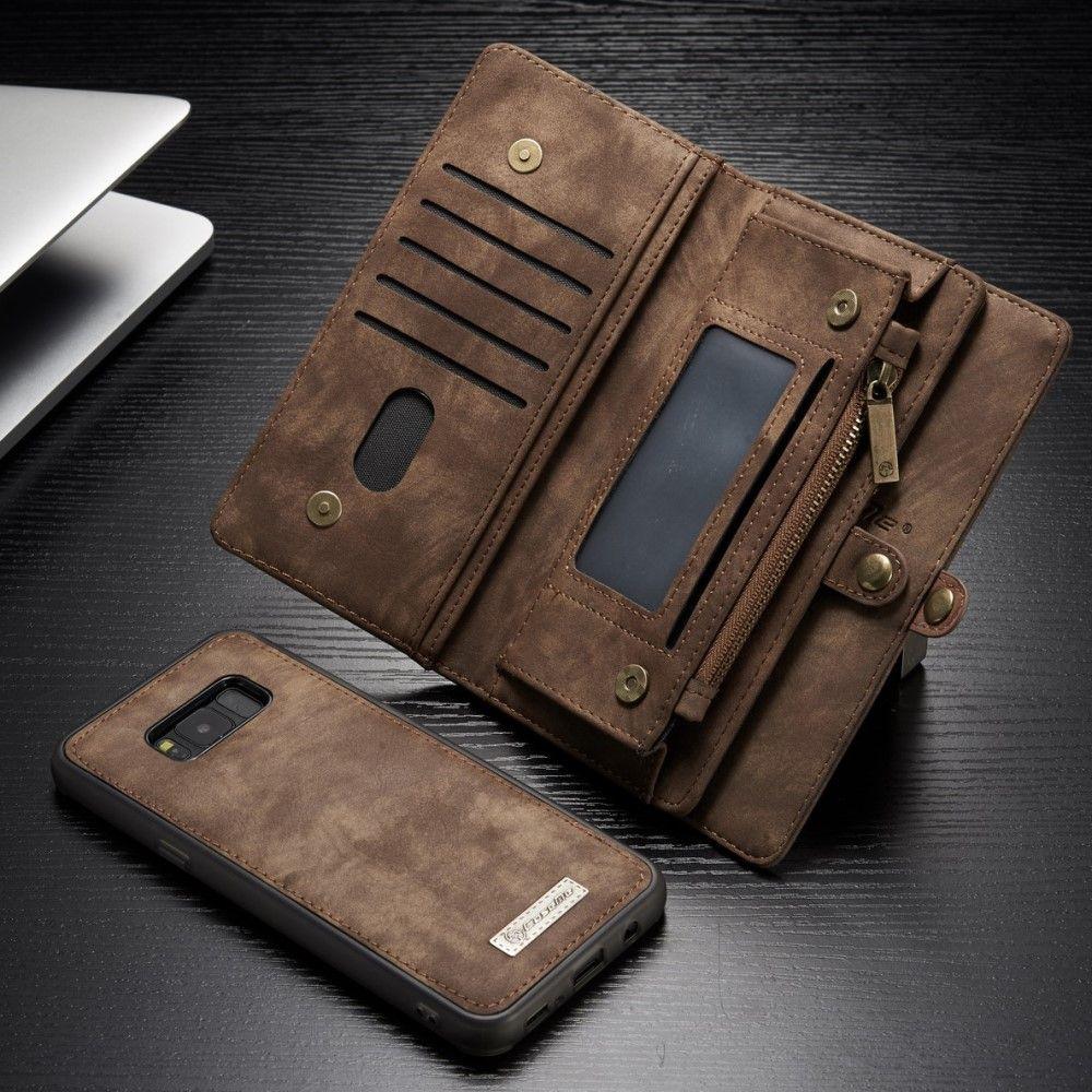Image of   Galaxy S8 - Ægte split læder cover CASEME 2-i-1 pung med kortslots - Brun