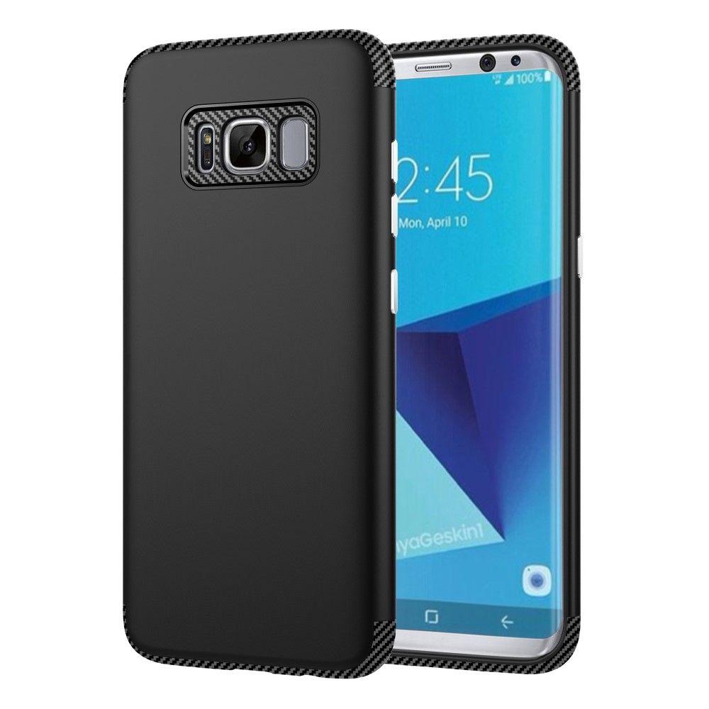 Galaxy S8 TPU Etui/Cover med Tekstur af kulfiber - Sort