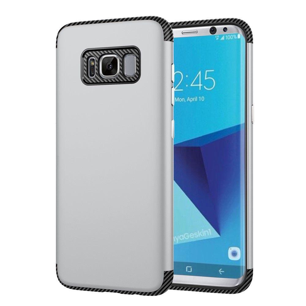 Galaxy S8 - TPU Etui/Cover med Tekstur af kulfiber - Sølv
