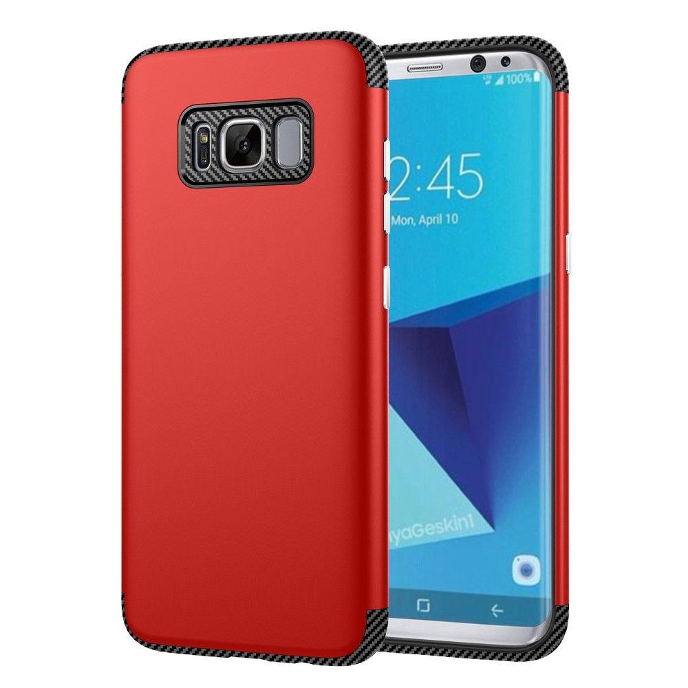 Galaxy S8 - TPU Etui/Cover med Tekstur af kulfiber - Rød