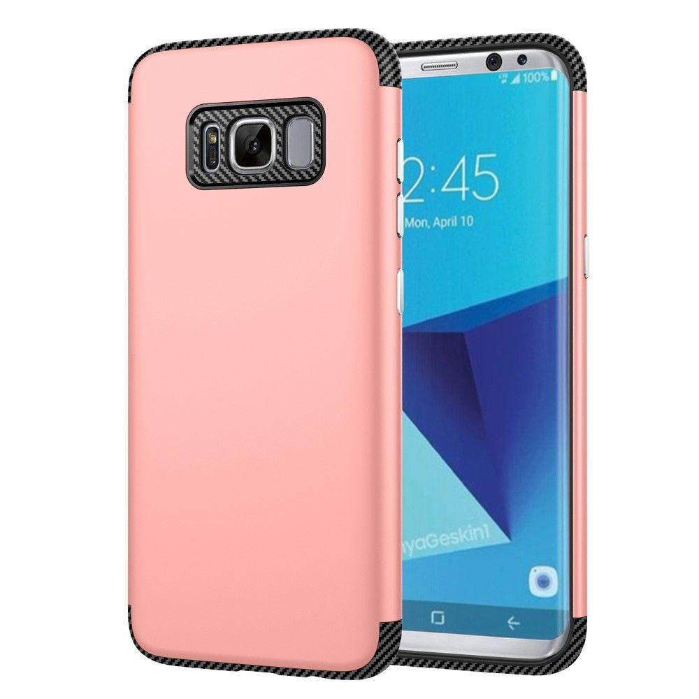 Image of   Galaxy S8 - TPU Etui/Cover med Tekstur af kulfiber - Rose Guld