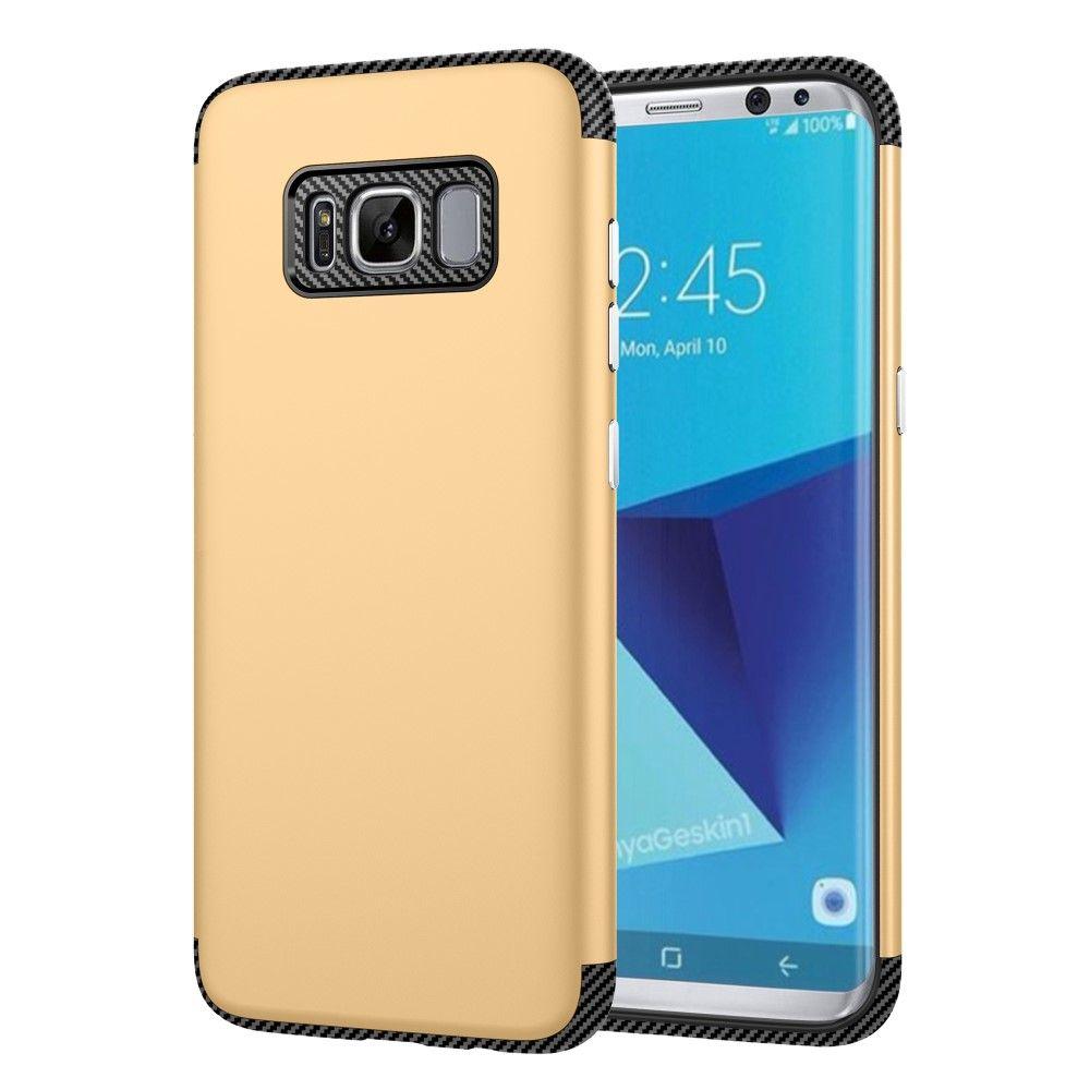 Image of   Galaxy S8 - TPU Etui/Cover med Tekstur af kulfiber - Guld