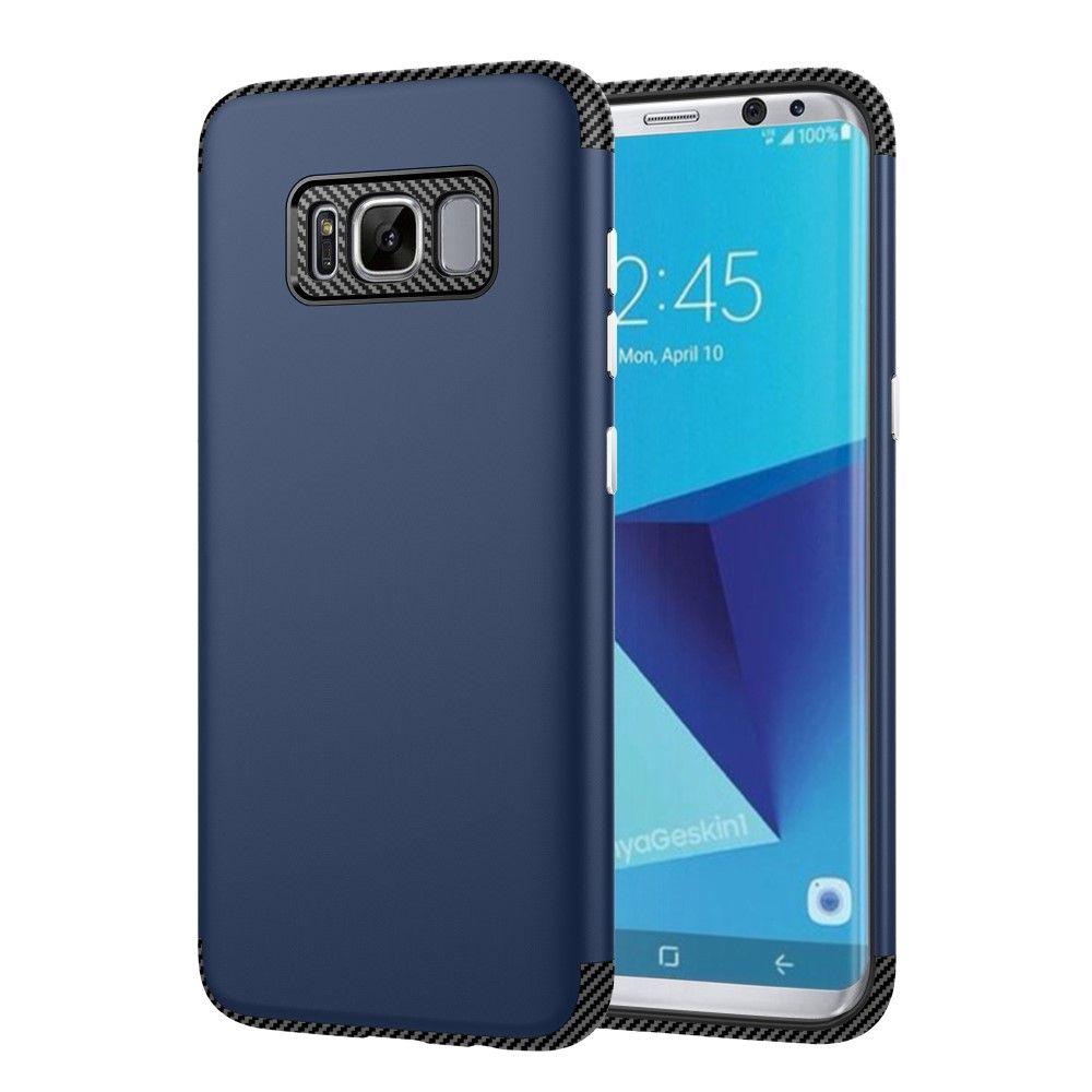 Galaxy S8 - TPU Etui/Cover med Tekstur af kulfiber - Mørkeblå