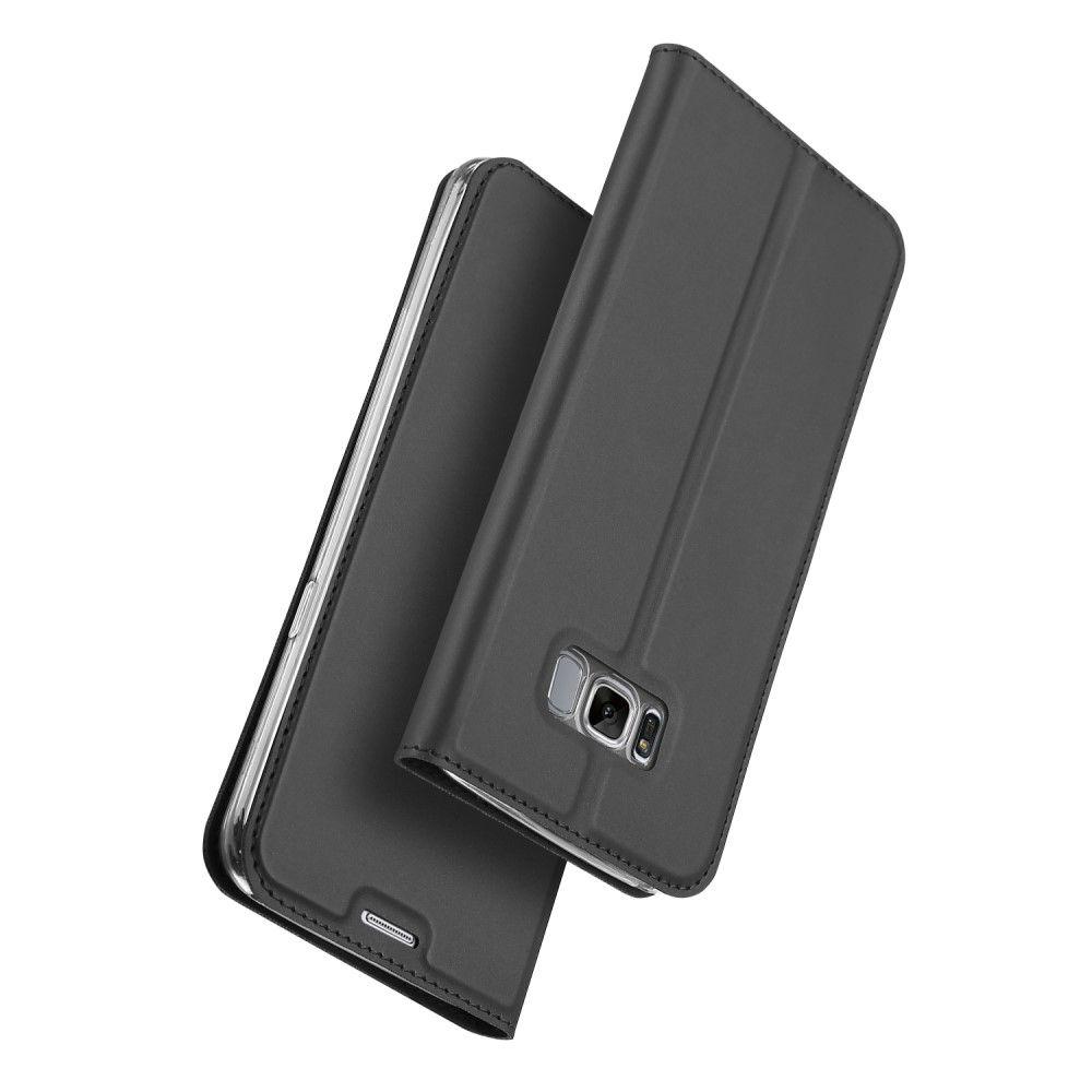 Image of   Galaxy S8 - DUX DUCIS skin pro series læder cover - Mørkegrå