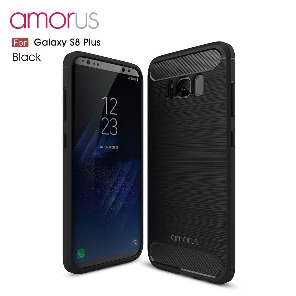 Image of   Galaxy S8 Plus - AMORUS tpu cover med børstet flade - Sort