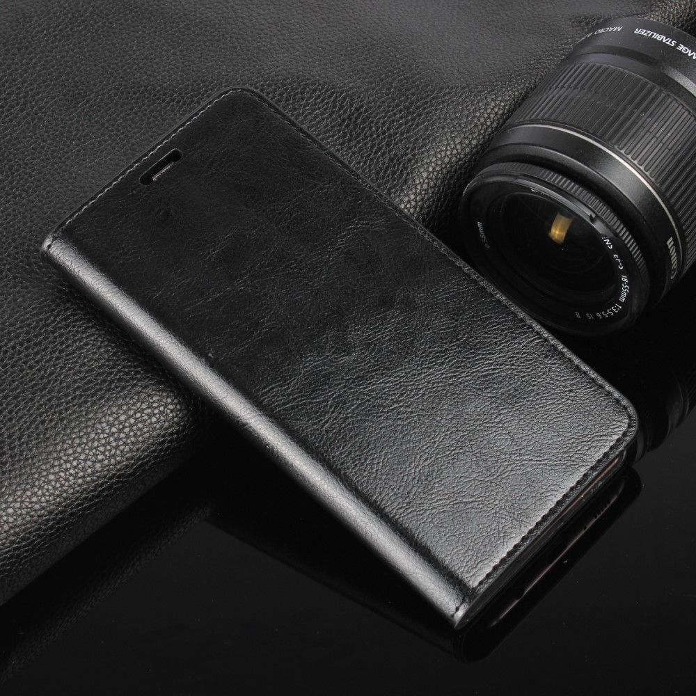 Galaxy S8 Plus - Ægte læder pung / cover - Sort