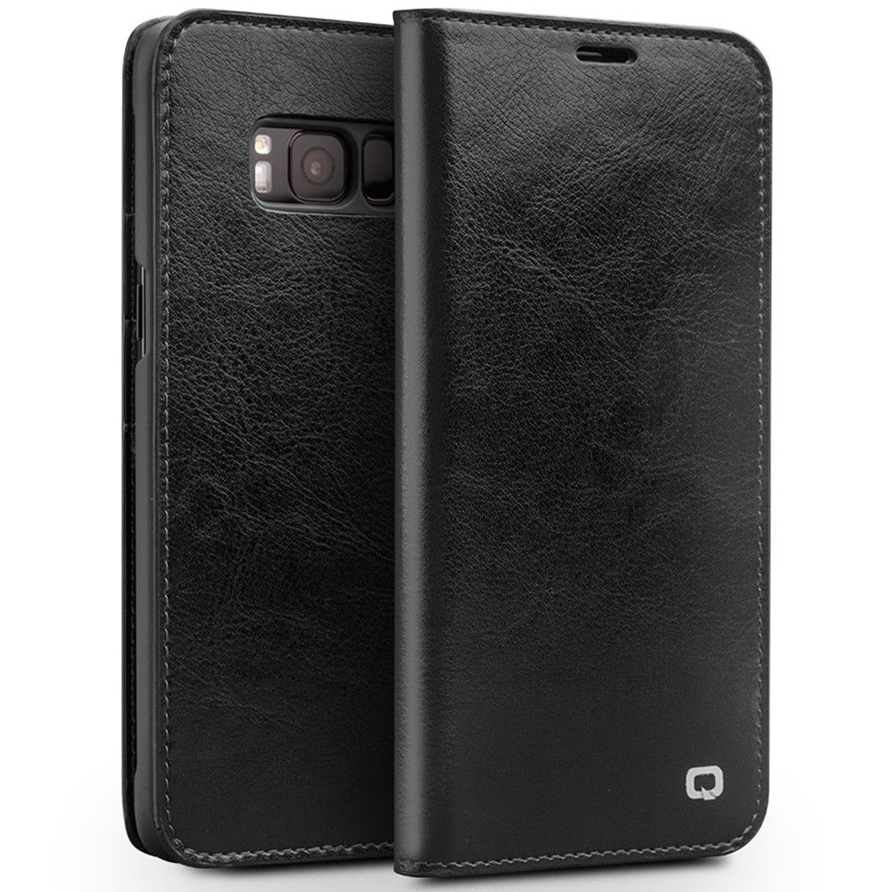 Image of   Galaxy S8 - QIALINO Classic ægte læder cover - Sort