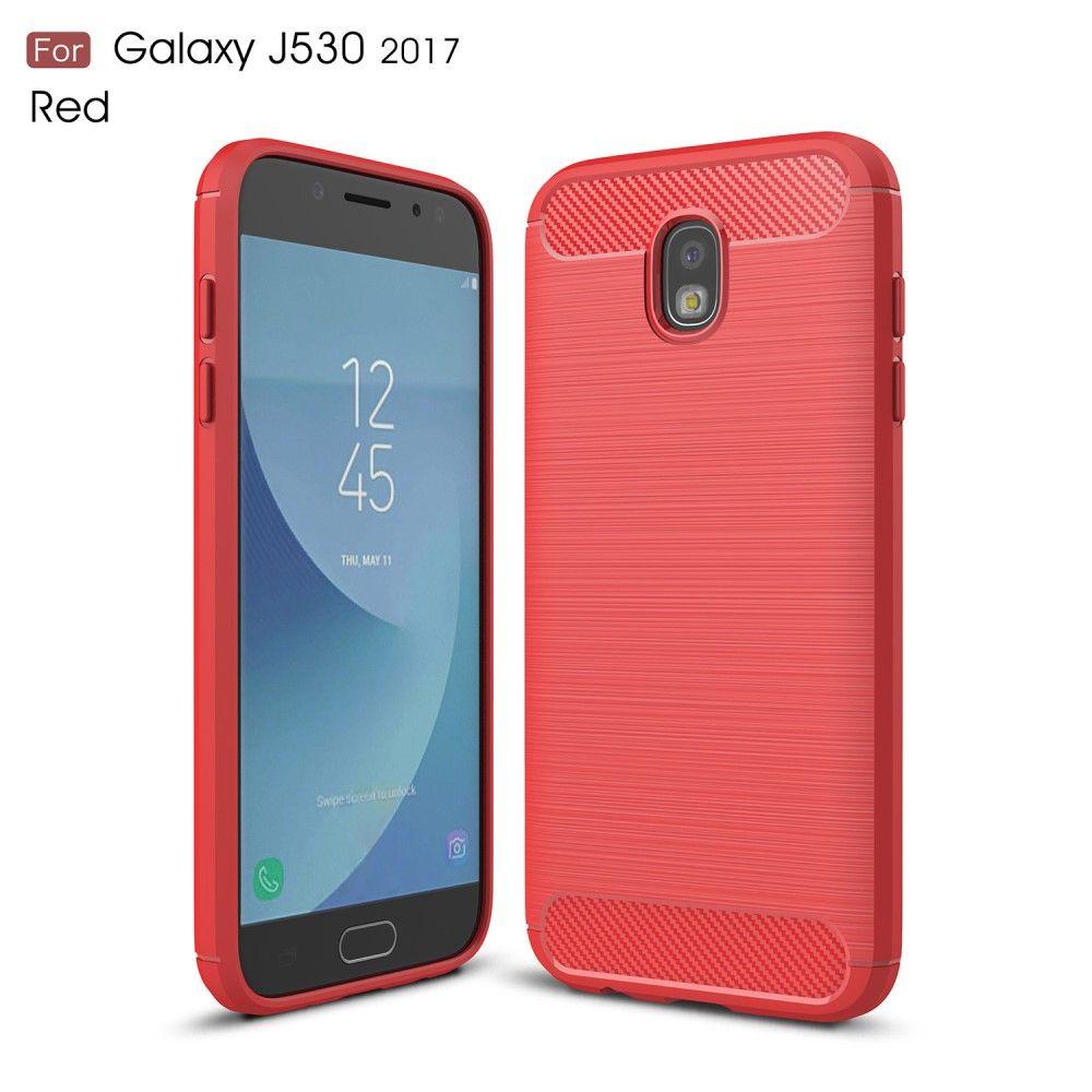 Image of   Galaxy J5 (2017) - TPU cover med børstet look - Rød