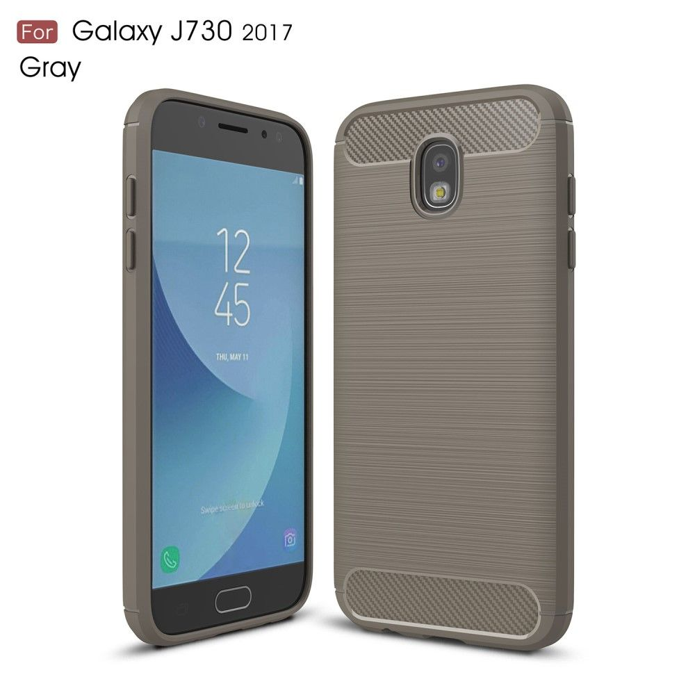 Image of   Galaxy J7 (2017) - TPU cover med børstet look - Grå