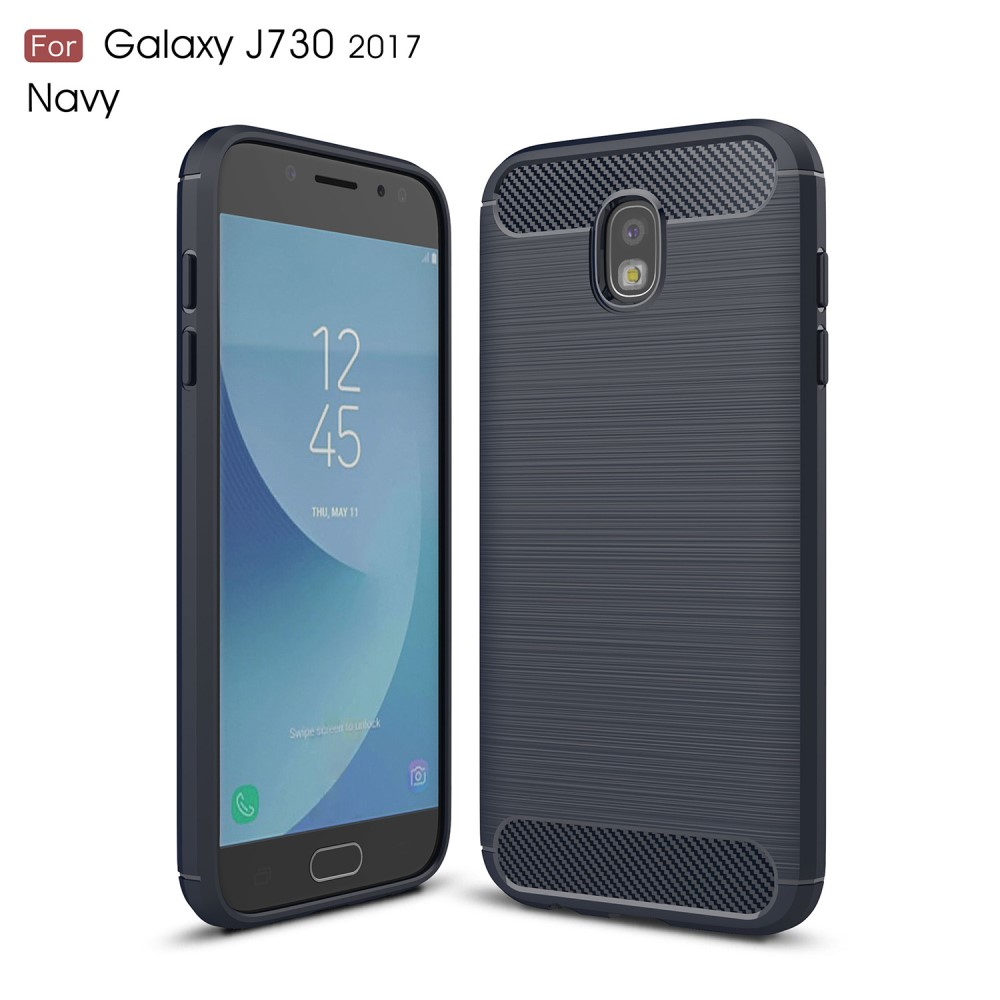 Image of   Galaxy J7 (2017) - TPU cover med børstet look - Mørkeblå