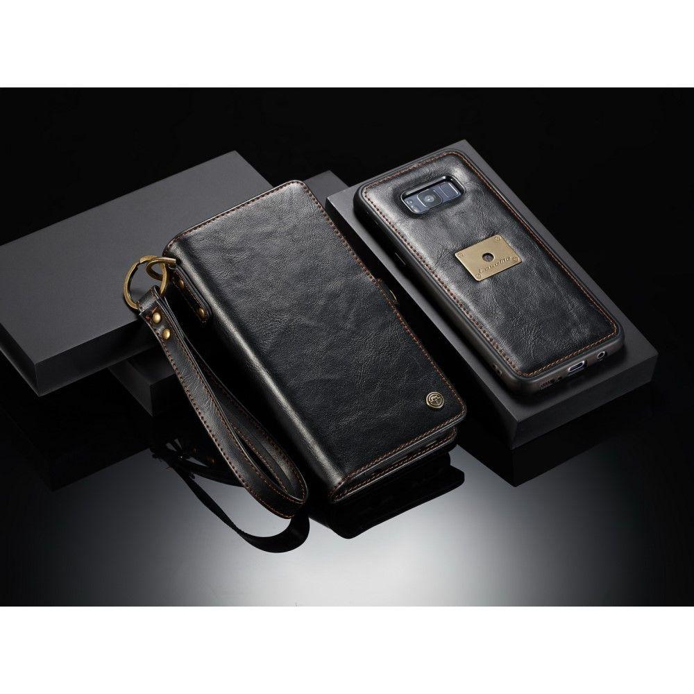 Image of   Galaxy S8 - CASEME 2-i-1 split læder pung - Sort