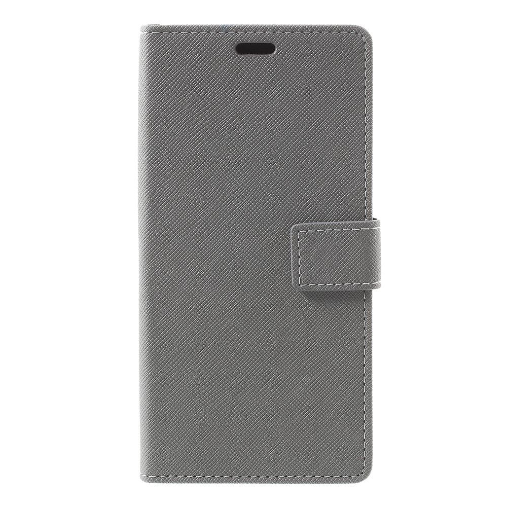 Image of   Galaxy Note 8 - Pu læder cover m/kryds tekstur - Grå
